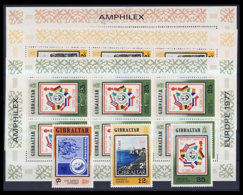 Nemzetközi Bélyegkiállítás AMPHILEX '77 Amszterdam sor + kisívsor AMPHILEX Amsterdam '77 International Stamp Exhibition set + mini sheet set