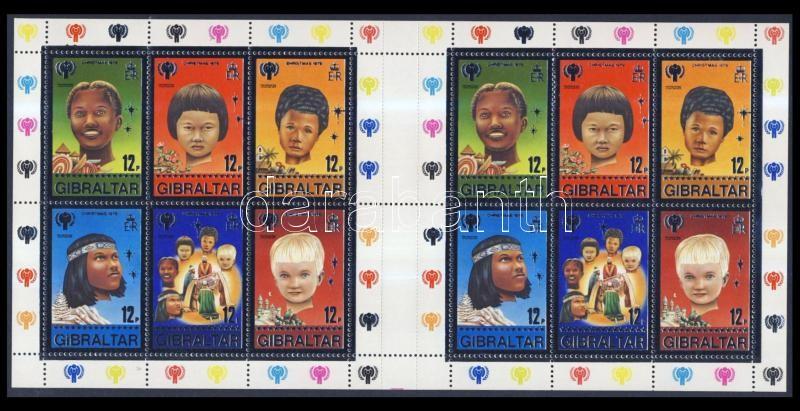 Nemzetközi Ifjúsági Év, Karácsony ív + blokkból származó bélyegek 3-as csíkokban International Youth Year, Christmas sheet + stripe of 3 from block