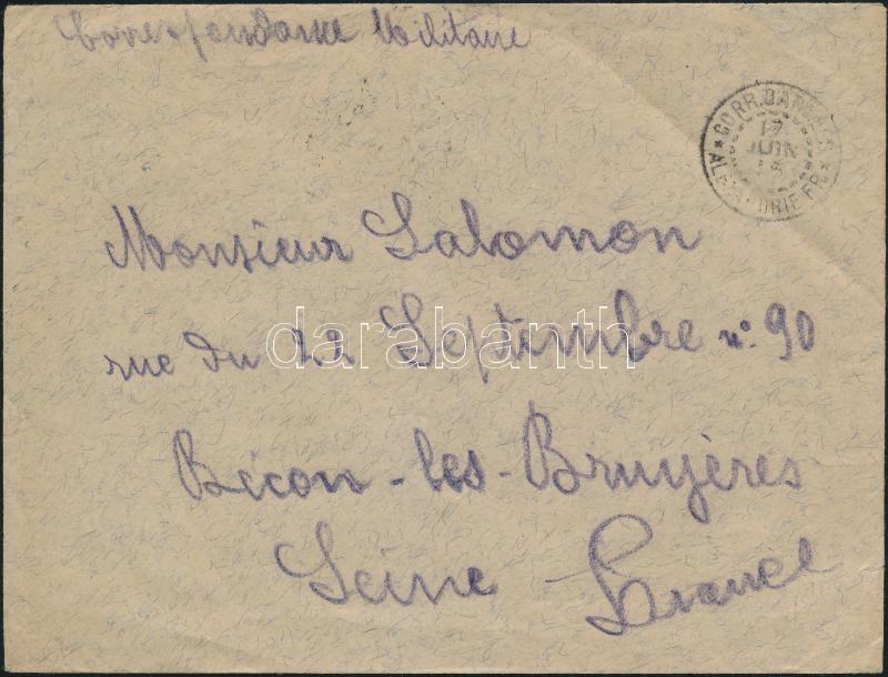 """Military cover """"ALEXANDRIE"""" - France, Katonai posta levél """"ALEXANDRIE"""" - France"""