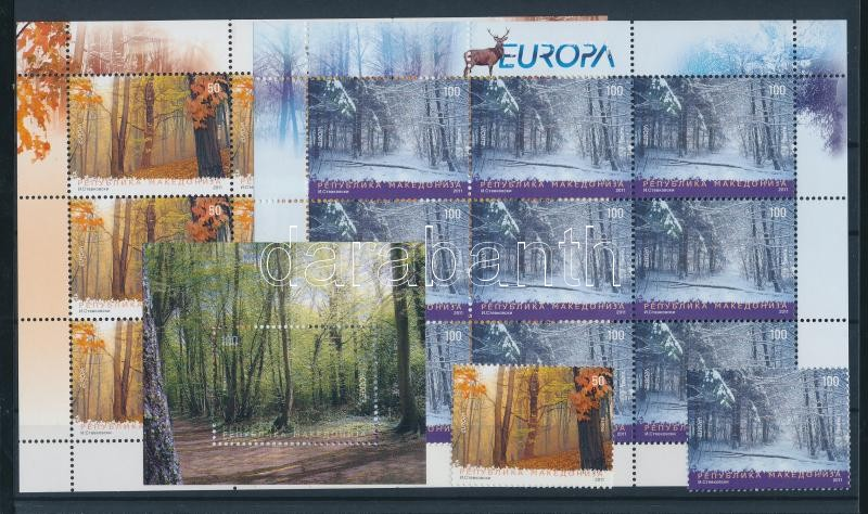 Europa CEPT Erdők sor + kisívpár + blokk Europa CEPT Forest set + mini-sheet pair + block