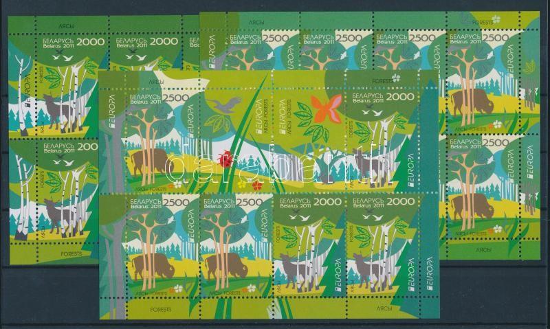 Europa CEPT Forests minisheet set + minisheet Europa CEPT Der Wald Kleinbogensatz + Kleinbogen Europa CEPT Erdők kisívsor + kisív
