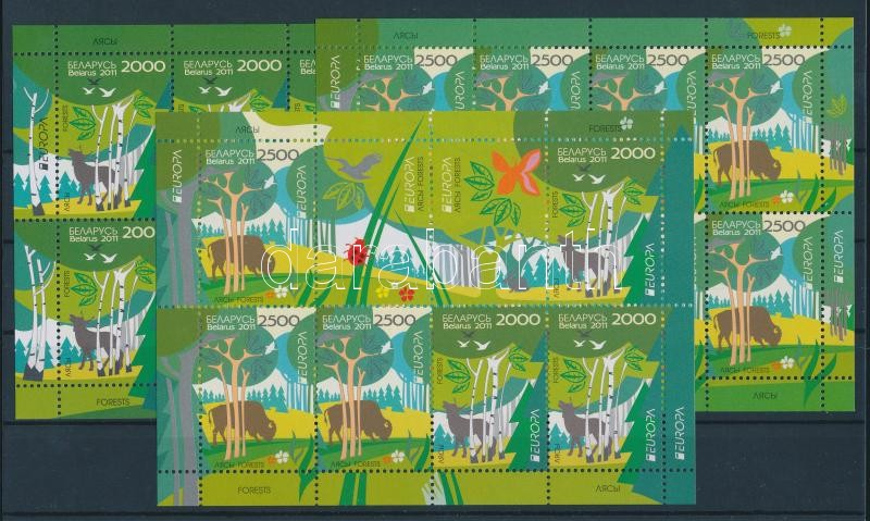 Europa CEPT Forest mini-sheet pair + mini-sheet includes 3 sets Europa CEPT Erdők kisívpár + 3 sort tartalmazó kisív