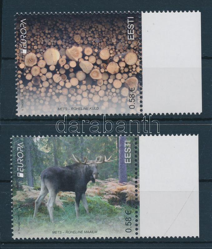 Europa CEPT forest set + minisheet pair Europa CEPT Erdők sor + kisívpár
