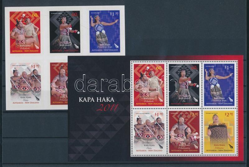 Maori culture, Kapa Haka ritual dance self-adhesive set + block Maori kultúra, Kapa Haka rituális tánc öntapadós sor + blokk