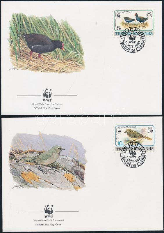 WWF: Birds set on 4 FDC WWF: Madarak sor 4 db FDC-n