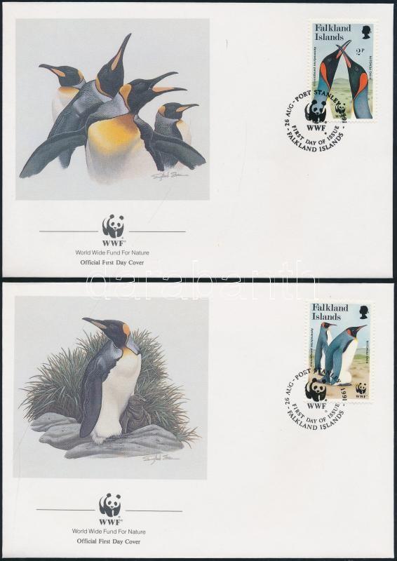 WWF: Királypingvin sor 4 db FDC-n WWF: King Penguin set on 4 FDC