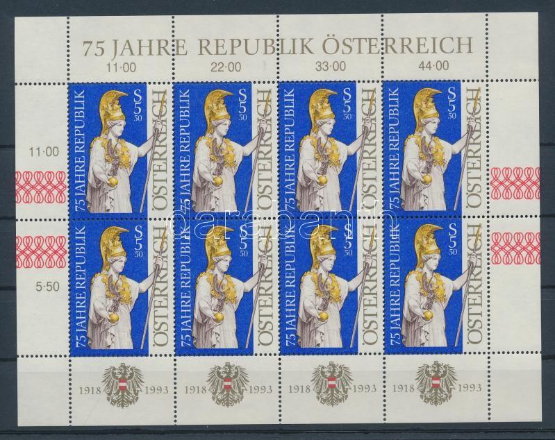 75th Anniversary of Austrian Republic mini-sheet 75 éves az Osztrák Köztársaság kisív