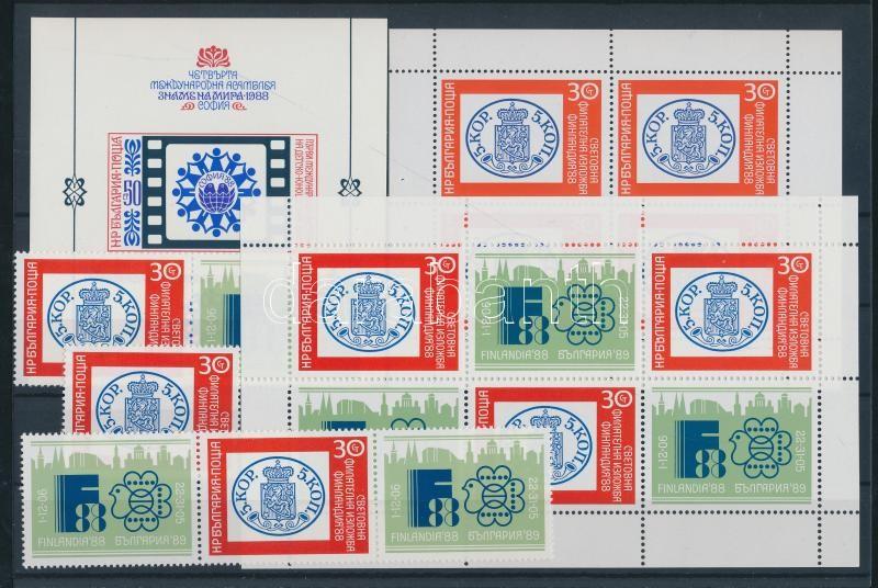 4 divers stamp exhibition minisheet + varieties 4 klf bélyegkiállítási kisív + változatai + tépésváltozatai