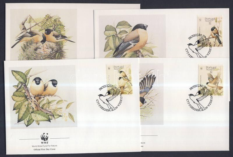 WWF Madarak sor négyescsíkban + a sor értékei 4 FDC-n WWF birds set stripe of 4 + the set on FDC