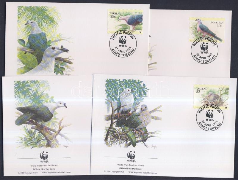 WWF Madarak sor + 4 FDC WWF: Birds set + 4 FDC