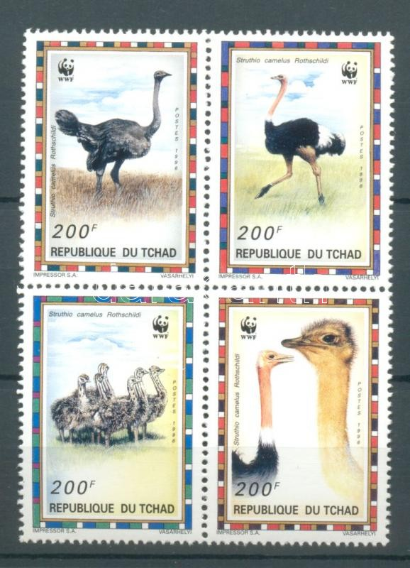 WWF: North African ostrich block of 4 WWF: Észak-afrikai strucc négyestömb