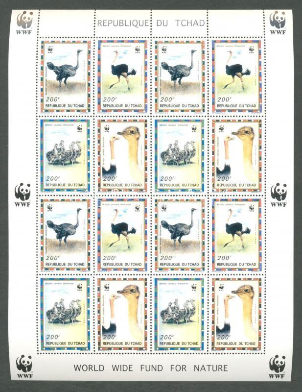 WWF: North African ostrich mini-sheet WWF: Észak-afrikai strucc kisív
