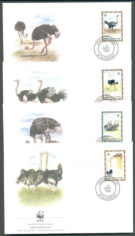 WWF: North African ostrich set on 4 FDC WWF: Észak-afrikai strucc sor 4 db FDC-n