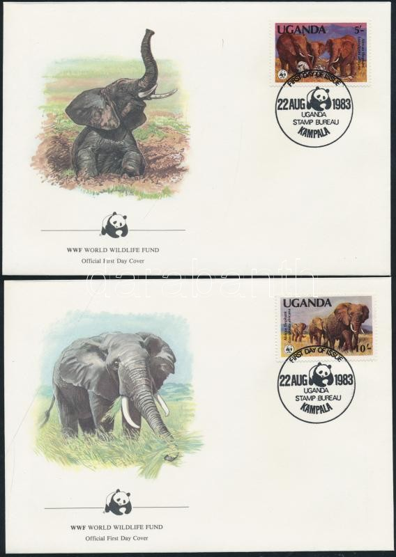 WWF African Elephant (I) set on 4 FDC WWF Afrikai elefánt (I.) sor 4 db FDC-n