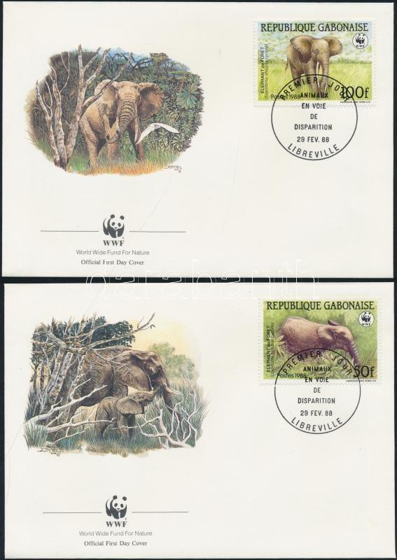 WWF: Forest Elephant set on 4 FDC WWF Erdei elefánt sor 4 db FDC