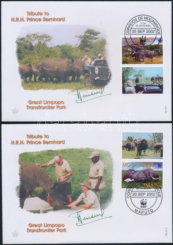 WWF African savannah elephants coupon set on 4 FDC WWF Afrikai szavanna elefánt szelvényes sor 4 db FDC-n