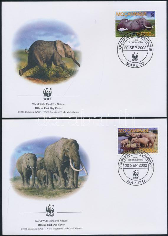 WWF African savannah elephants set on 4 FDC WWF Afrikai szavanna elefánt sor 4 db FDC-n
