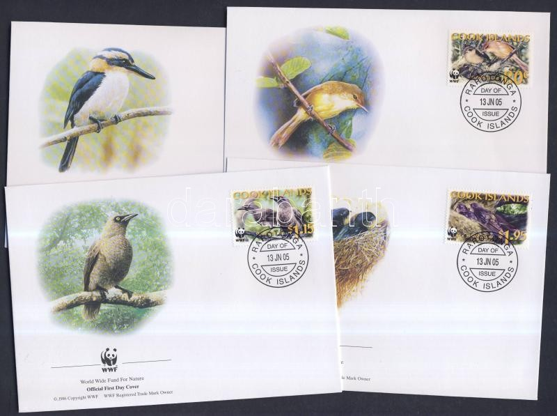 WWF Birds set + 4 FDC + mini-sheet set WWF Madarak sor + 4 FDC + kisívsor