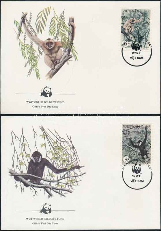 WWF Monkies set on 4 FDC WWF Majmok sor 4 db FDC-n
