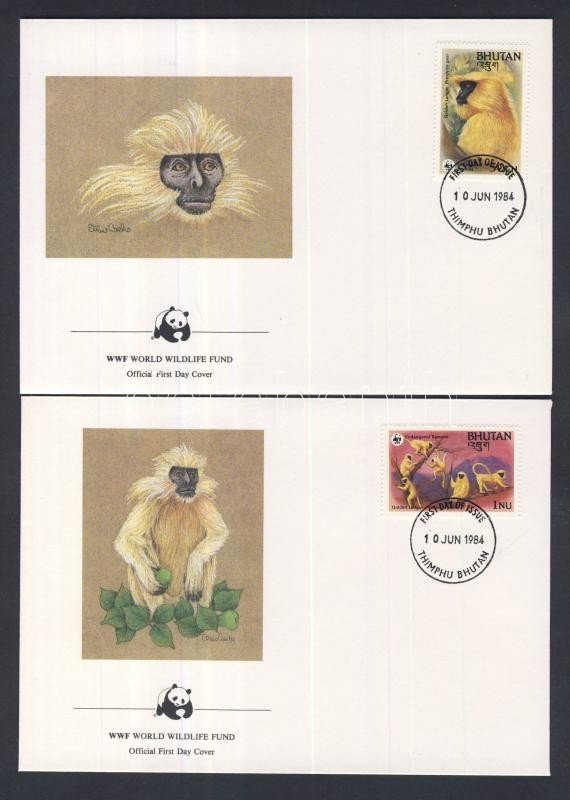 WWF: Golden Lagur set 4 pieces on FDC WWF: Aranylagur sor 4 db FDC-n