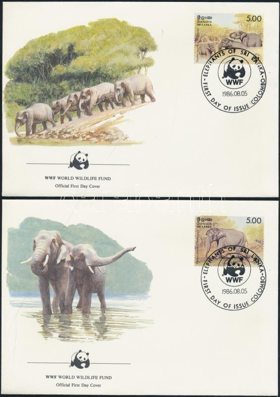 WWF: Ceylon elephant set 4 on FDC WWF: Ceyloni elefánt sor 4 db FDC-n