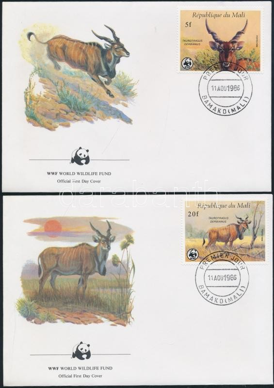 WWF: Common Eland set on 4 FDCs WWF: Jávorantilop sor 4 db FDC-n
