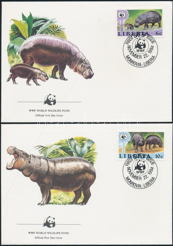 WWF: Törpevíziló sor 4 db FDC-n WWF: Pygmy Hippopotamus set on FDC