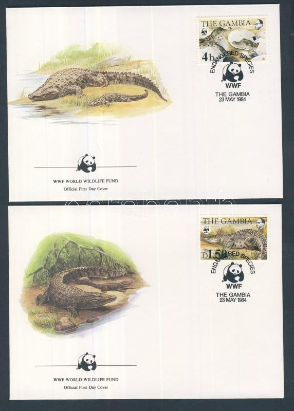 WWF: Nílusi krokodil sor 4 db FDC-n WWF: Nilotic Crocodile set on FDC