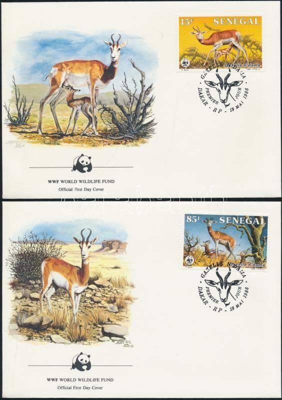 WWF: Gazelle set on 4 FDC WWF: Dámagazella sor 4 db FDC-n