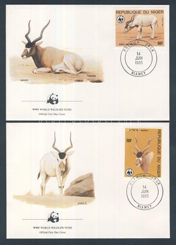 WWF Antilop sor 4 db FDC-n WWF Antelope set on 4 FDC