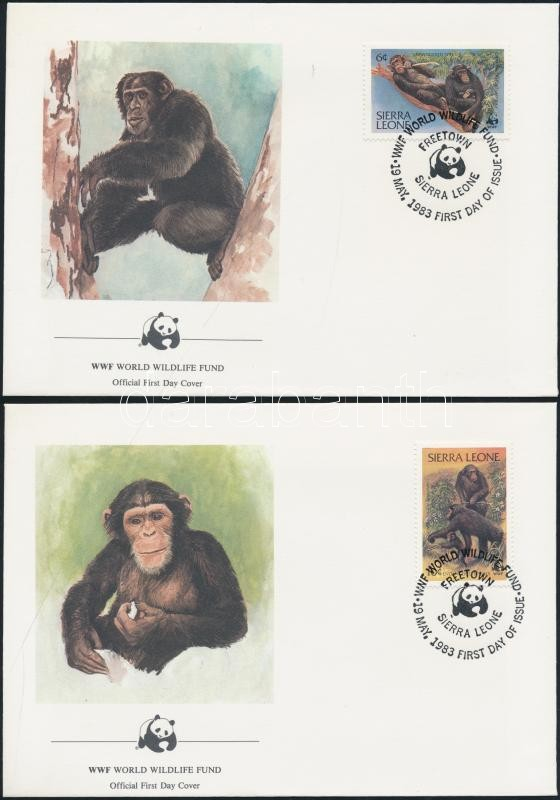 WWF: chimpanzees set 4 on FDC WWF: Csimpánzok sor 4 db FDC-n