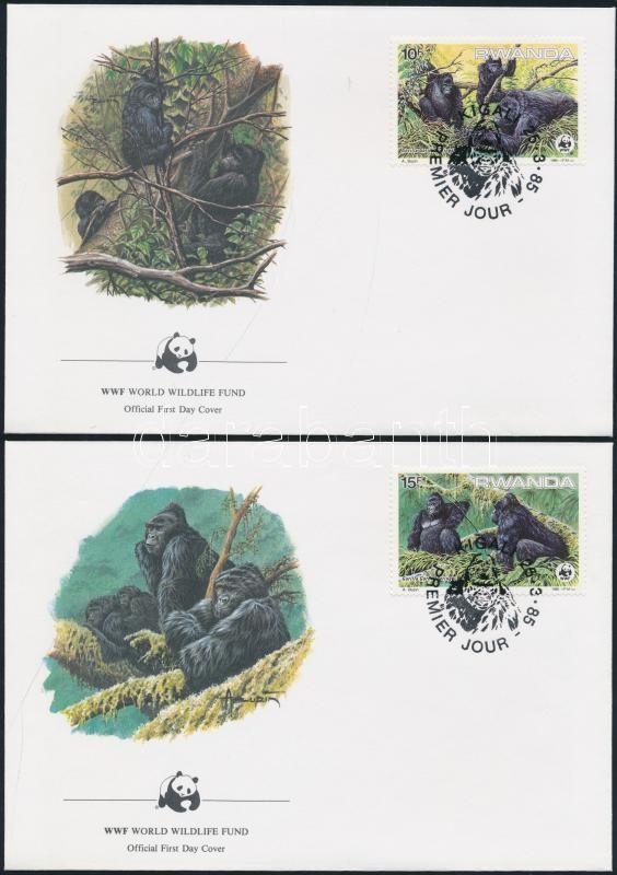 WWF: Mountain gorilla set on 4 FDC WWF: Hegyi gorilla sor 4 db FDC-n