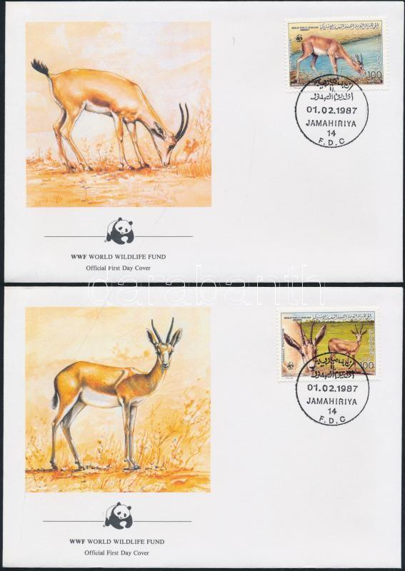 WWF: Gazella Leptoceros set on FDC WWF: Homoki gazella sor 4 db FDC-n