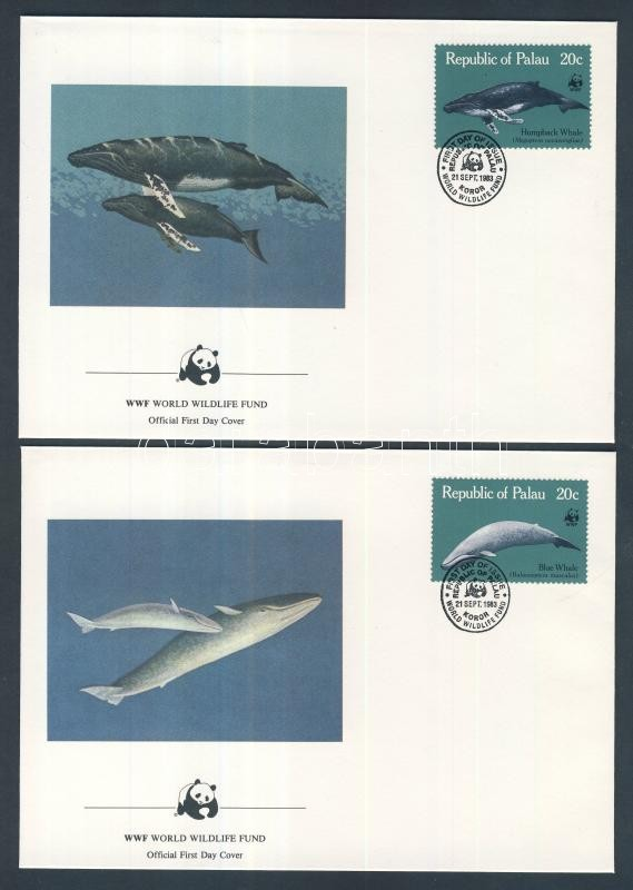 WWF: Whales set on 4 FDC WWF: Bálna sor 4 db FDC-n