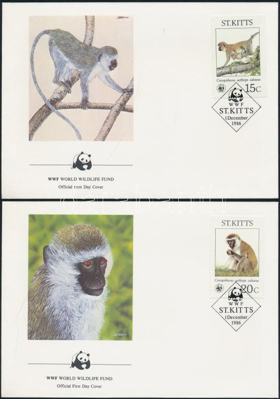 WWF: Etióp majom sor 4 db FDC-n WWF: Etiopian monkey set 4 on FDC