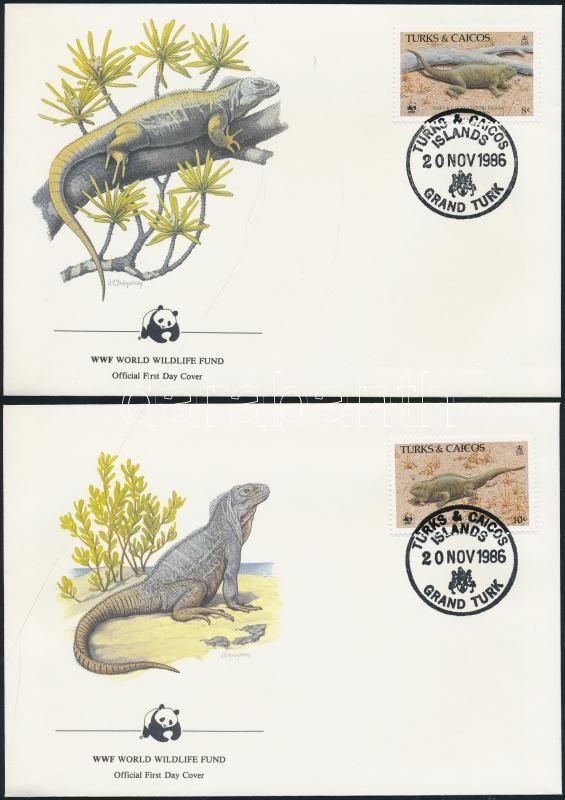 WWF: Rhinoceros iguana set on 4 FDC WWF: Orrszarvú leguán sor 4 db FDC-n