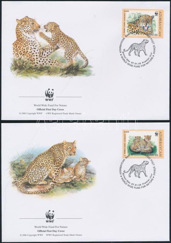 WWF: Caucasian leopard set on 4 FDC WWF: Kaukázusi leopárd sor 4 db FDC-n
