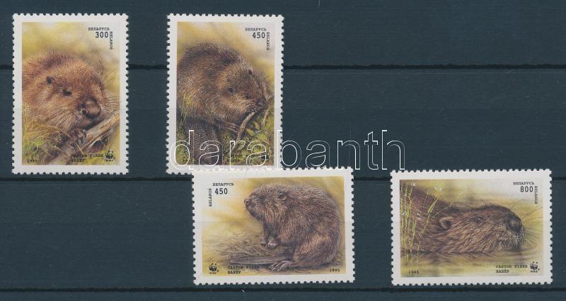 WWF: Eurasian beaver set + the set on 4 FDC WWF: Eurázsiai hód sor + a sor 4 db FDC-n