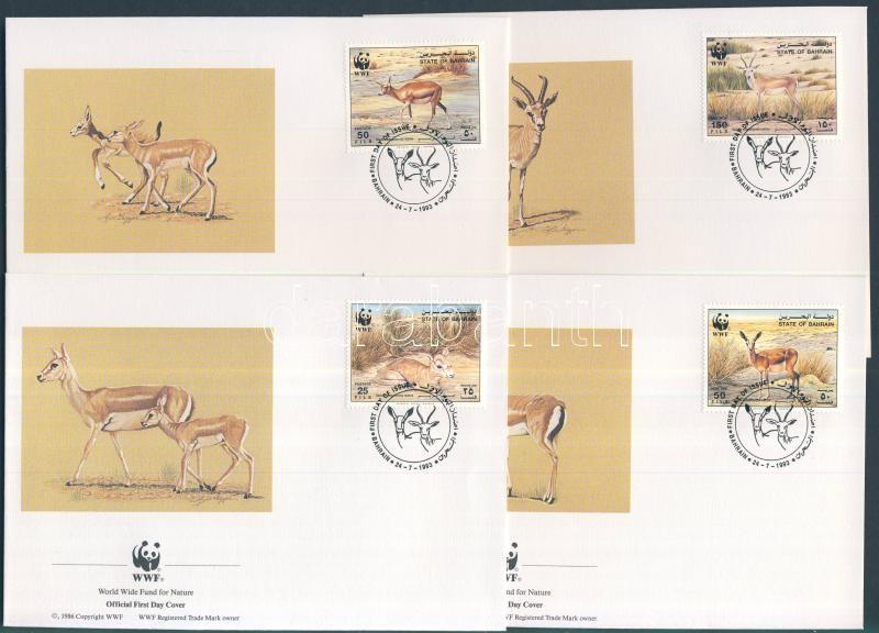 WWF: Golyvás gazella sor 4 db FDC-n WWF: Goitrous gazelle set on 4 FDC