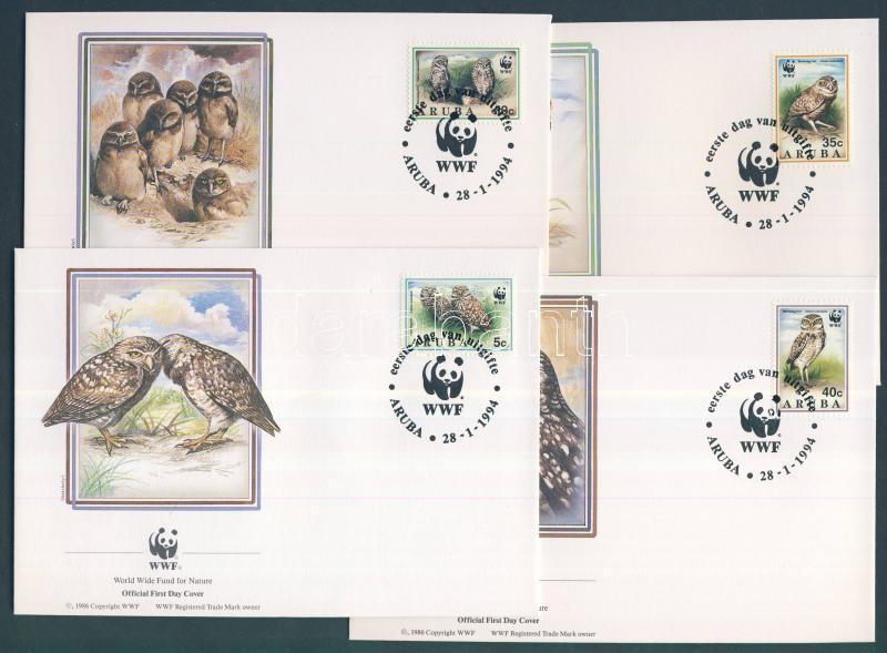 WWF: Burrowing Owl set + the set on 4 FDC WWF: Üregi bagoly sor + a sor FDC-n