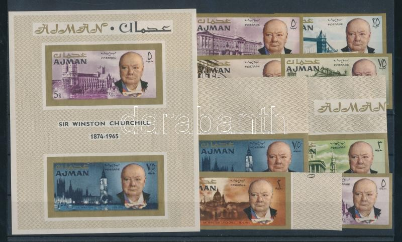 Winston Spencer Churchill imperforated set + block Winston Spencer Churchill vágott sor + blokk