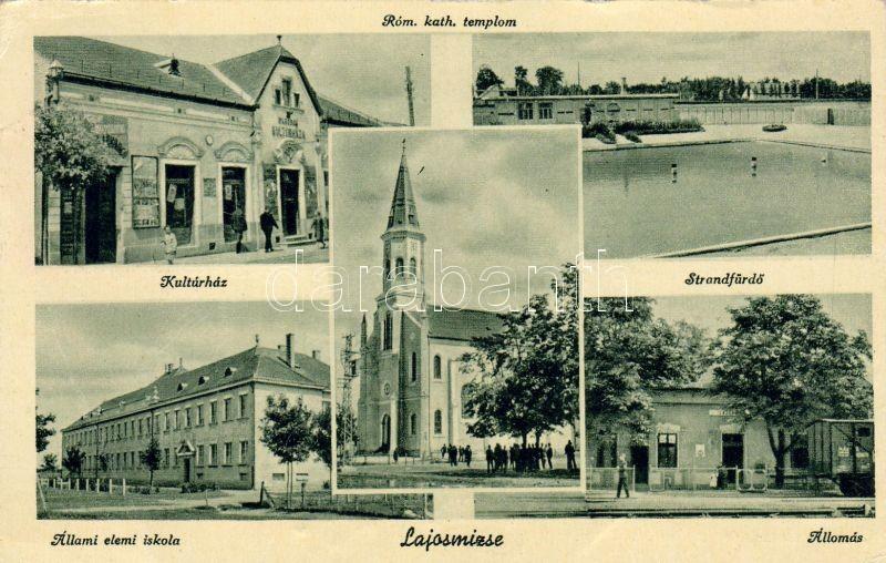 Lajosmizse, Római katolikus templom, Kultúrház, vasútállomás, állami elemi iskola