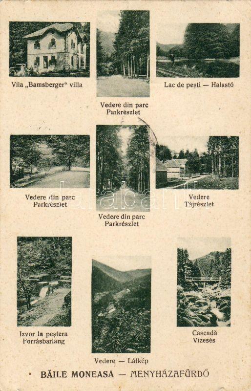 Bailea Moneasa, Villa Bamsberger, waterfall, spring cave, Menyházafürdő, Bamsberger villa, Vízesés, Forrásbarlang