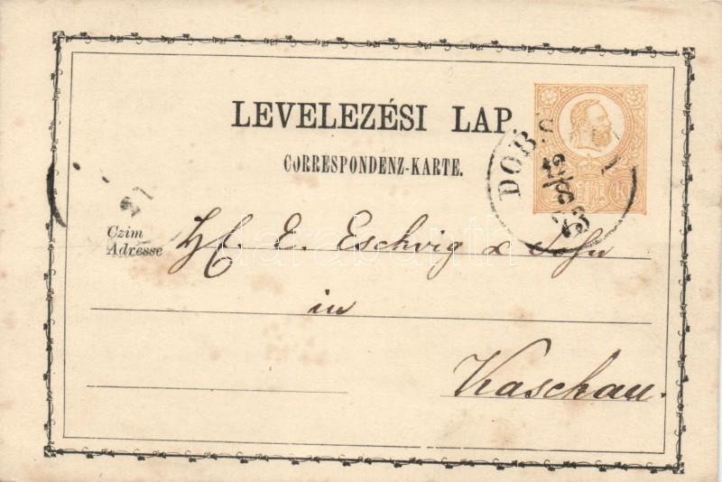 "Hungary-Slovakia 2kr PS-card ""DOBS(INA)"" - Kaschau, 2kr díjjegyes levelezőlap ""DOBS(INA)"" - Kaschau"