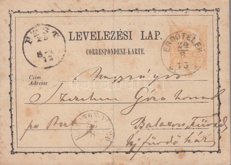 """2kr PS-card """"ERDŐTELEK/HEVES M."""" - """"PEST"""", 2kr díjjegyes levelezőlap """"ERDŐTELEK/HEVES M."""" - """"PEST"""""""