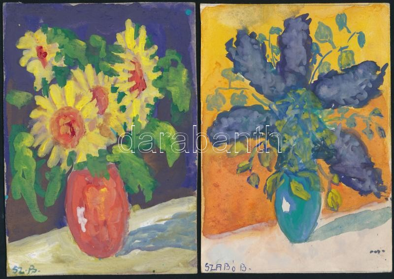 18 modern hand-painted postcards, mainly still lifes depicting flowers, s: Szabó B., 18 db kézzel festett modern lap, főleg virágcsendéletek, s: Szabó B.