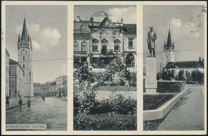 Presov, Masaryk statue, Haltenberger shop, Eperjes, szobor, bolt