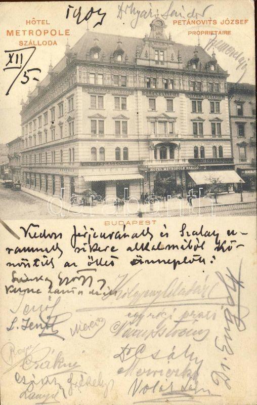 Budapest VII. Petánovits József Metropole Szállodája;