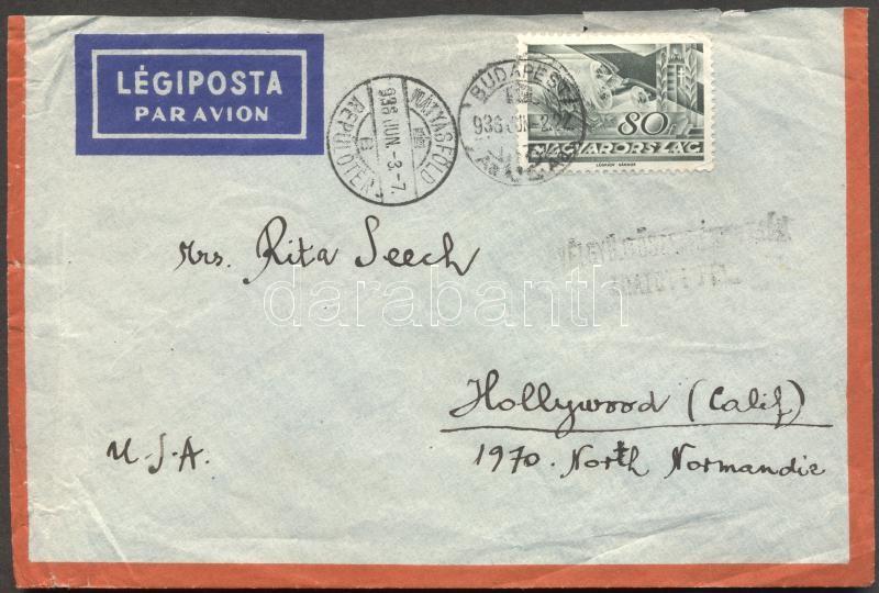 Airmail to Hollywood 80f ftanking, Légi levél Hollywoodba Repülő 80f bérmentesítéssel