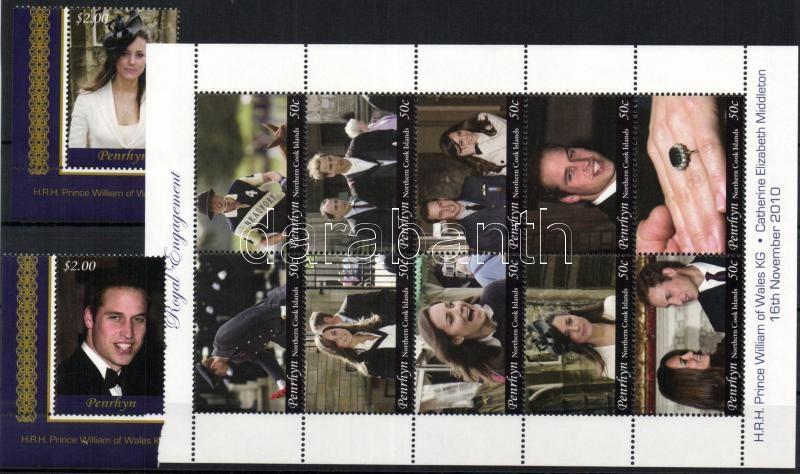 William herceg és Kate Middleton - királyi eljegyzés sor + kisív + 4 klf blokk Prince William and Kate Middleton - Royal Engagement set + mini-sheet + 4 diff blocks